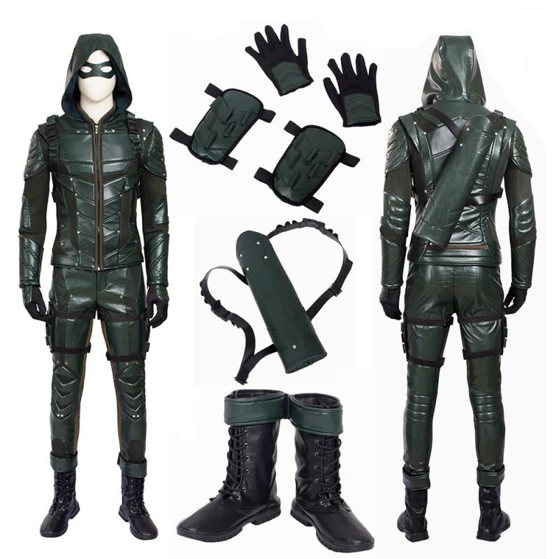 DC Arrow 5 Oliver Queen Green Arrow Cosplay Costume