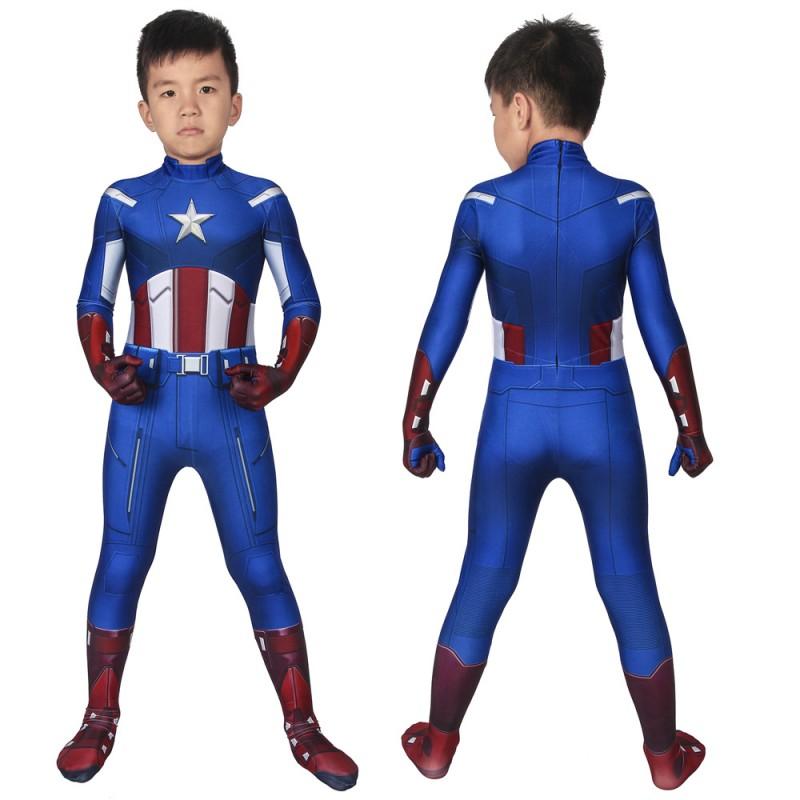 Avengers Captain America Steven Rogers Cosplay Jumpsuit for Kids Halloween Children Costumes