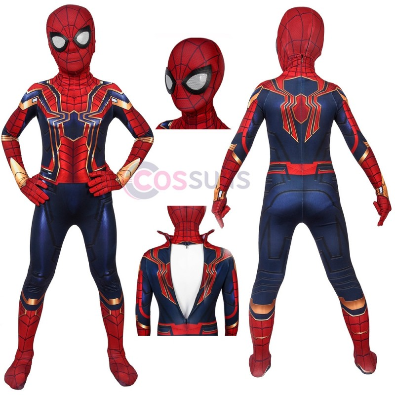 Avengers: Endgame Iron Spiderman Peter Parker Cosplay Jumpsuit For Kids Halloween Gifts