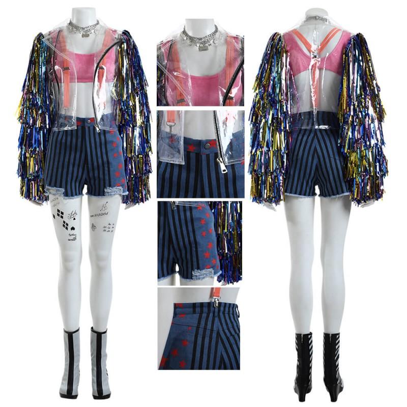 Birds of Prey Harley Quinn Cosplay Costume Rainbow Suit Ver.2