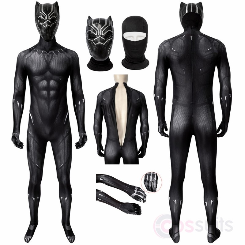 Black Panther Costume T'Challa Cosplay Jumpsuit