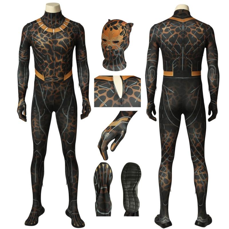 Black Panther Erik Killmonger Jumpsuit Golden Jaguar Cosplay Costume