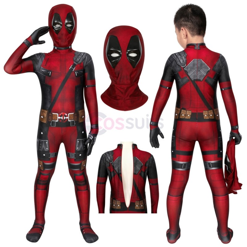 Deadpool Kids Suits Wade Wilson Jumpsuit Cosplay Halloween Costumes Gifts