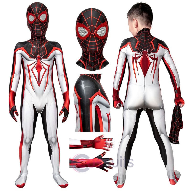 Kids PS5 Spider-Man: Miles Morales T.R.A.C.K Jumpsuit Cosplay Costume For Halloween