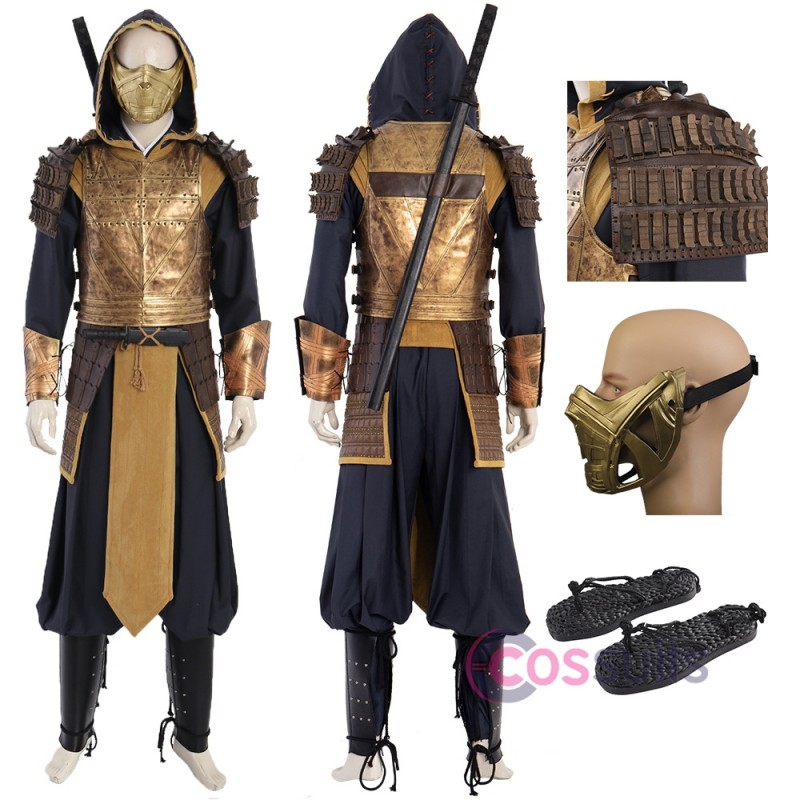 Mortal Kombat 11 Scorpion Costume Hanzo Hasashi Cosplay Suit