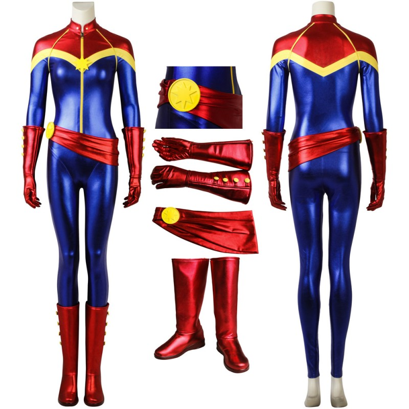 Ms. Marvel Captain Marvel Carol Danvers Cosplay Costume With Boots