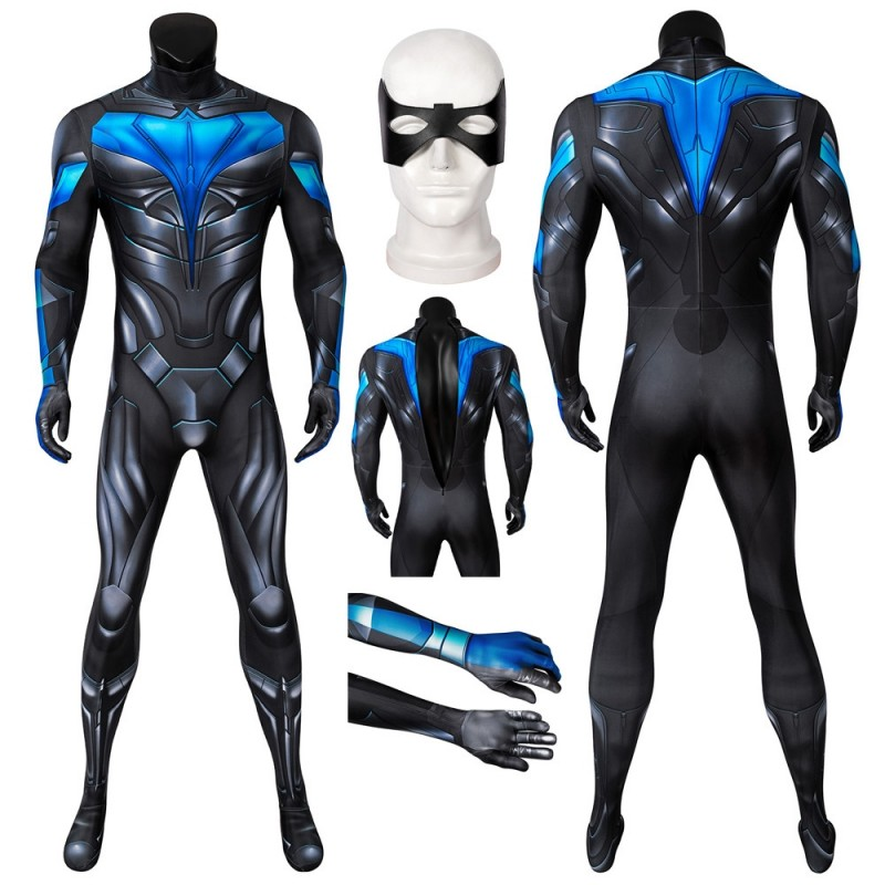 New Titans Nightwing Costume Dick Grayson Cosplay Jumpsuit