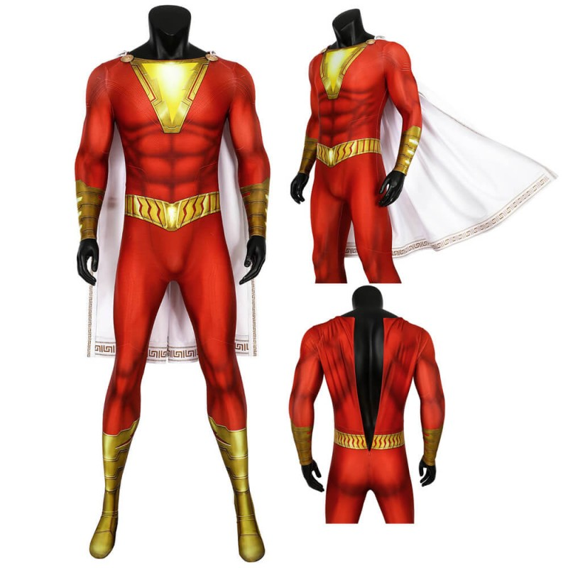 Shazam Billy Batson Cosplay Jumpsuit With Cape