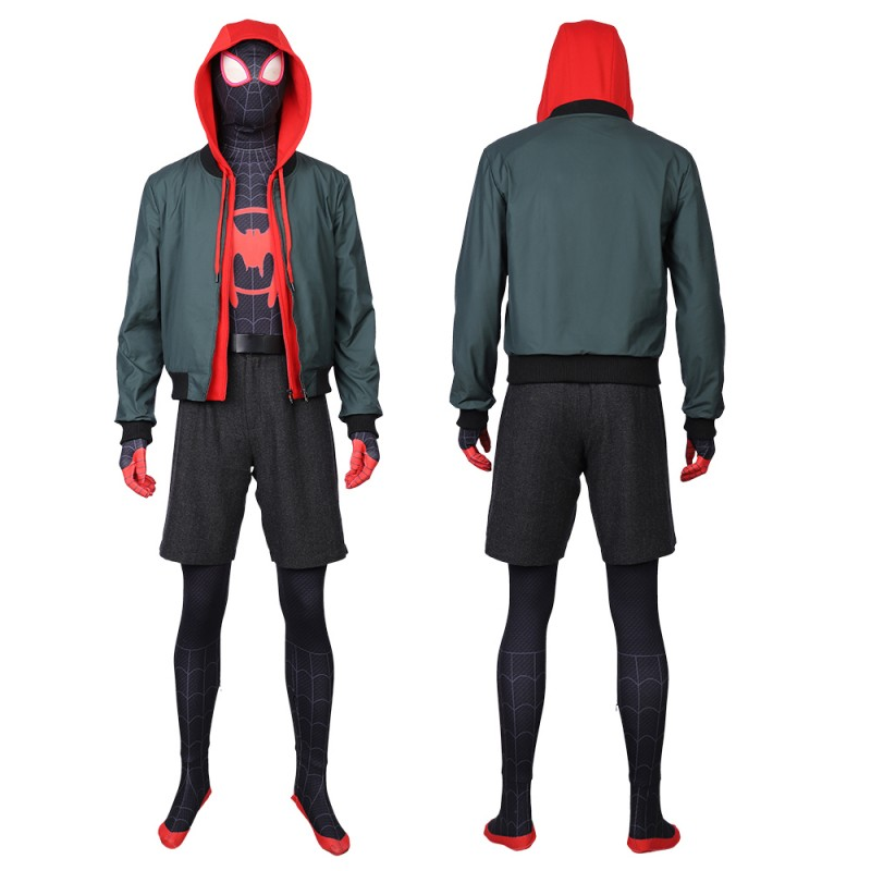 Miles Morales Suit Spider Man Into The Spider Verse Cosplay Costumes