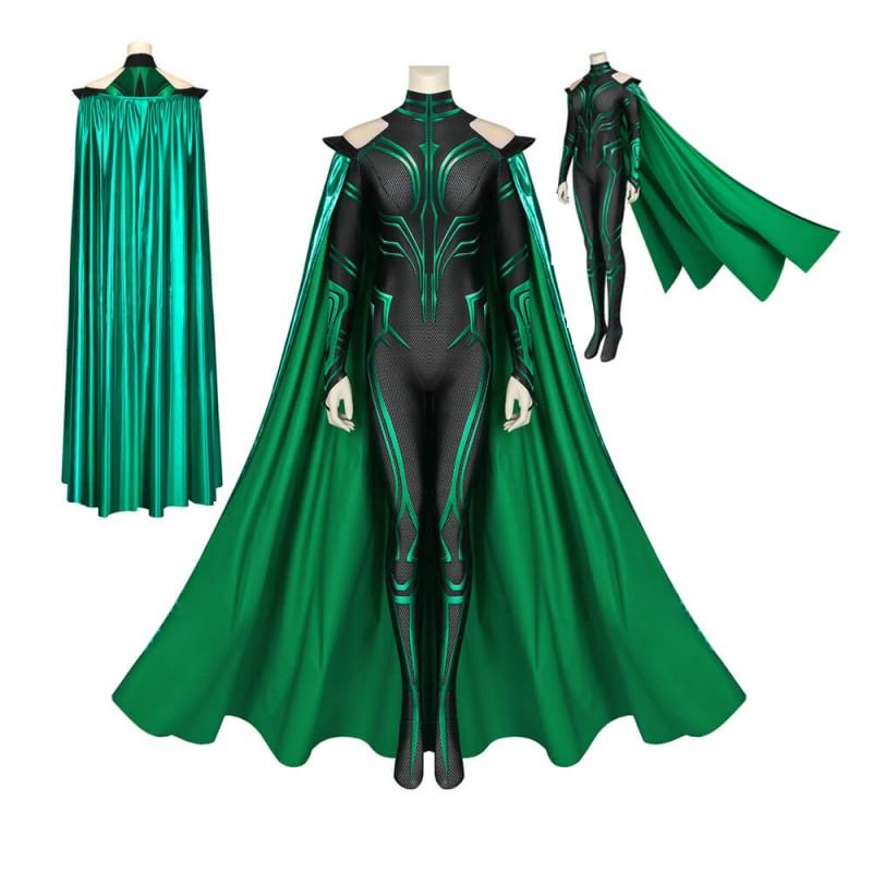 THOR 3 Ragnarok Trailer Hela Cosplay Jumpsuit With Cloak