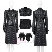 2021 Movie Cruella de Vil Black Leather Cosplay Costume