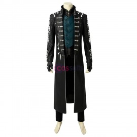 Vergil Cosplay Costume Devil May Cry 5 Black Trench Coat