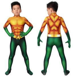 DC Comic Aquaman Arthur Curry Cosplay Jumpsuit for Kids