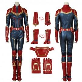 Carol Danvers Costume Captain Marvel Artificial Leather Cosplay Suit