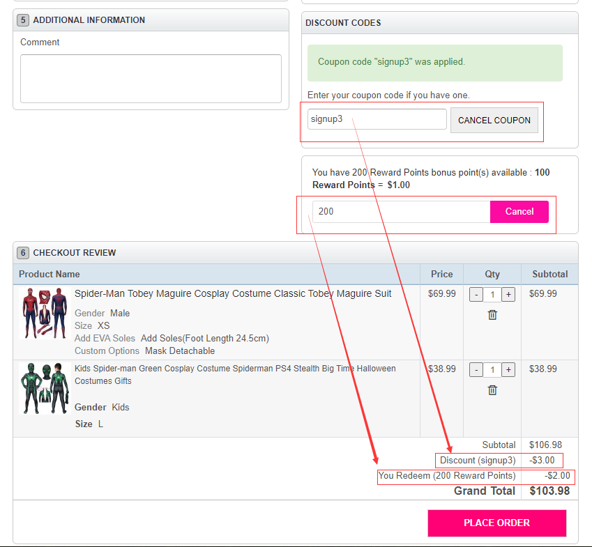 Order Information Page of CosSuits Mall